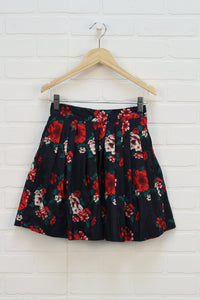 Black + Red Floral Pleated Skirt (Size L/10-12)