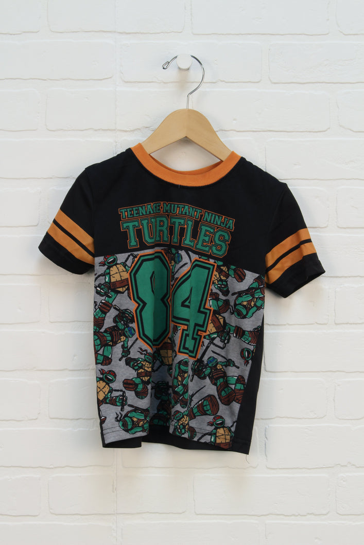 Black Graphic Athletic T: TMNT (Size 4T)
