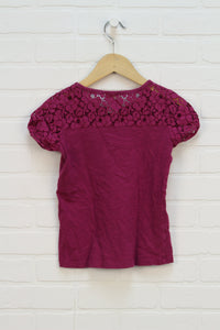 Magenta Lace Top (Size M/8)