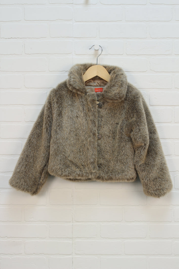 Tan Faux Fur Jacket (Size 6) *STAFF PICK*