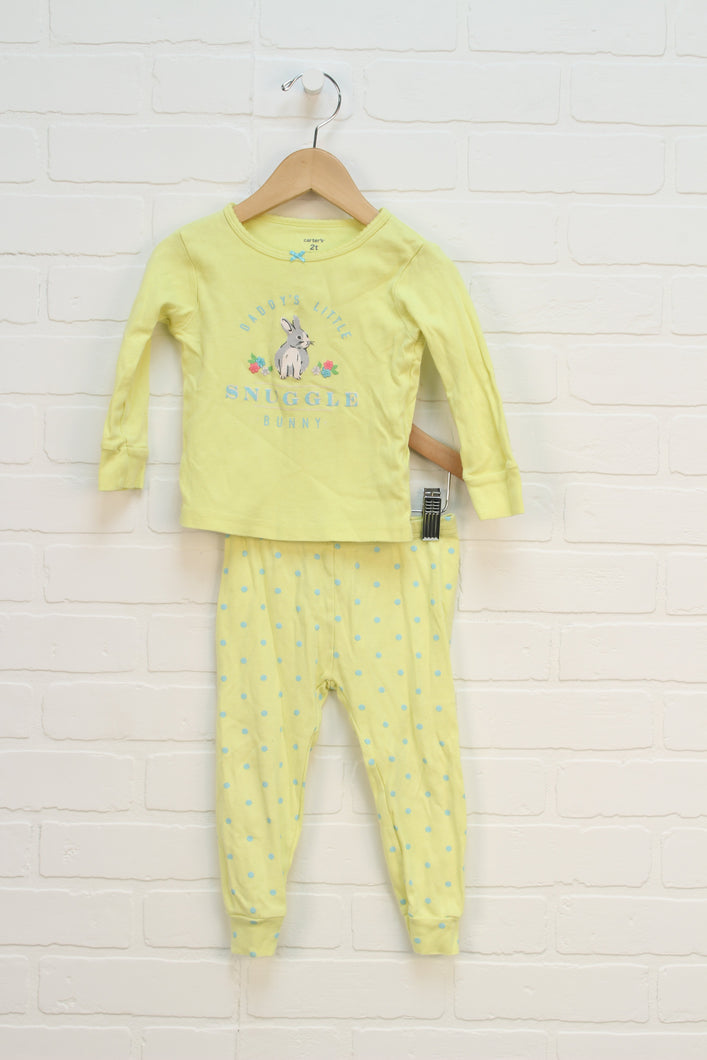 Yellow Graphic Pajamas: Bunny (Size 2T) 2 Pieces