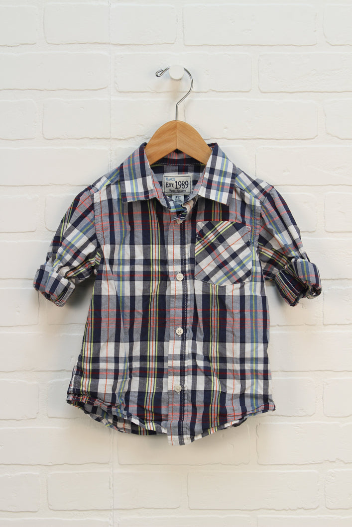 White + Navy Plaid Top (Size 3T)