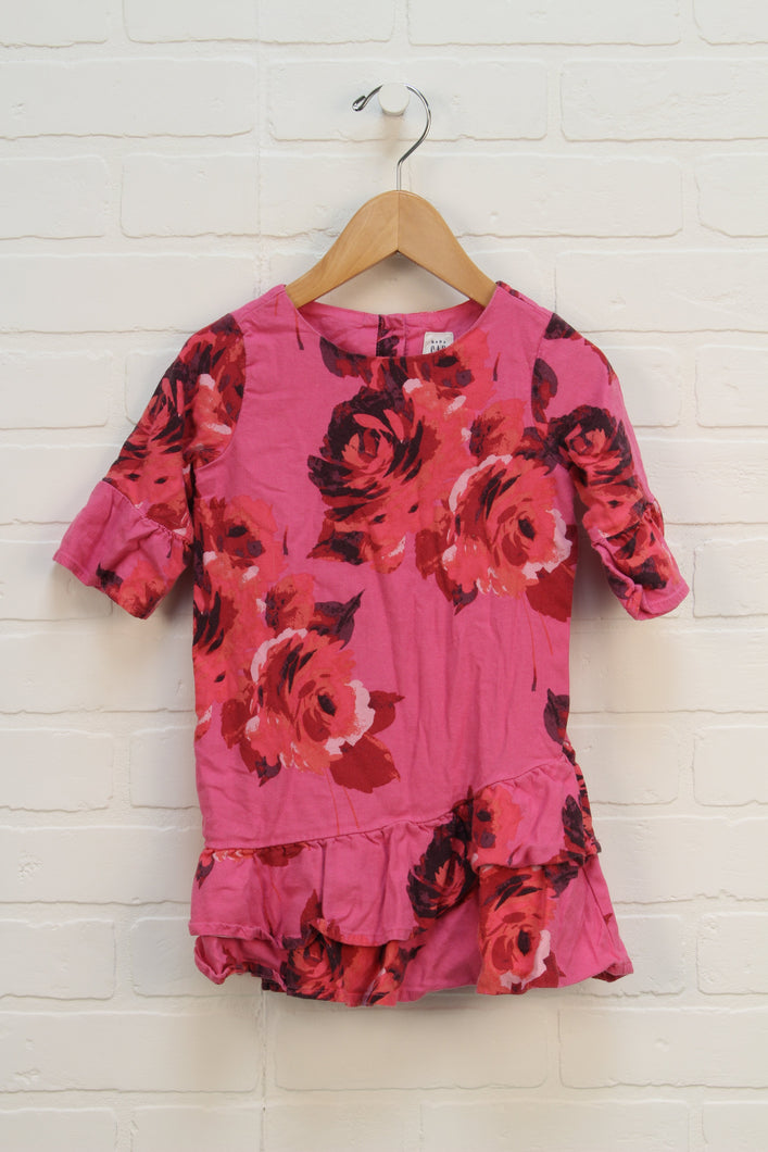Pink Floral Drop Waist Dress (Size 3)