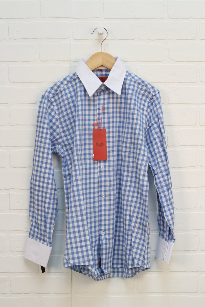 NWT Blue + White Gingham Button Up (Size 14)