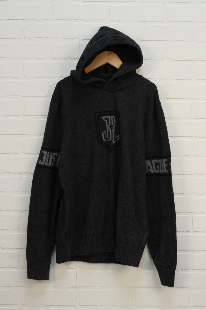 Grey Hooded Graphic Sweater: Justice League (Women's Size M)