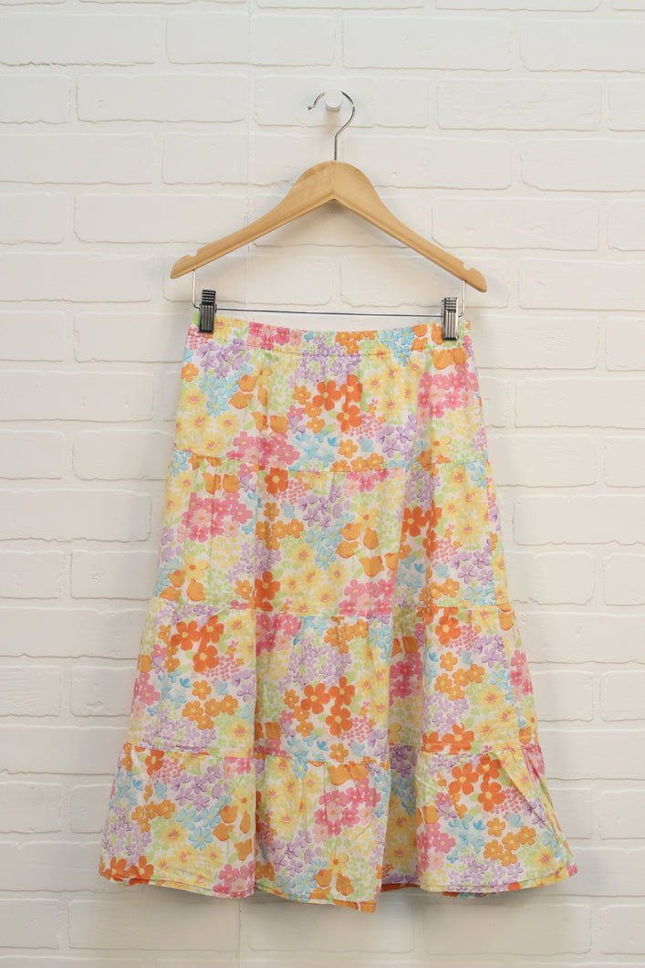 Orange Multi Floral Maxi Skirt (Size 12) *STAFF PICKS*