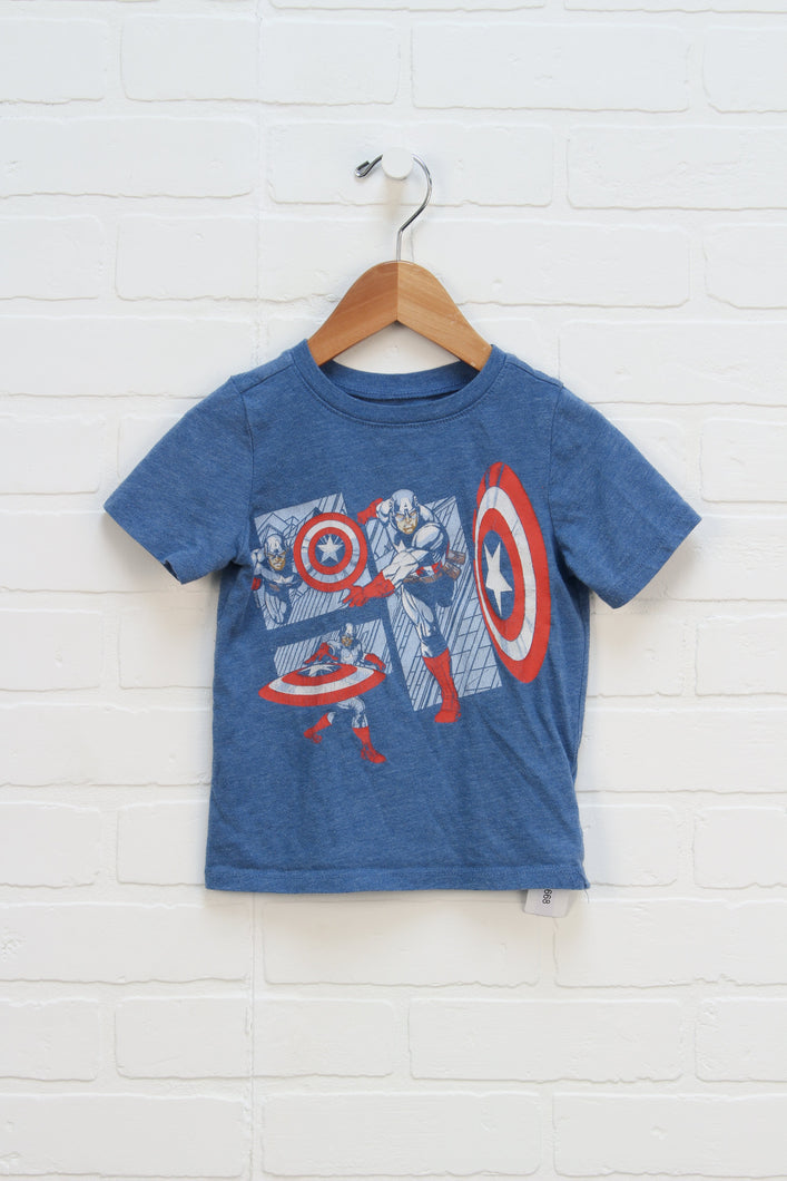 Blue Graphic T-Shirt: Captain America (Size 2T)