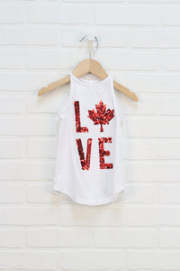 White + Red Sequin Tank (Size XS/4)