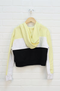 Yellow + Black Graphic Cropped Hoodie (Size 10)