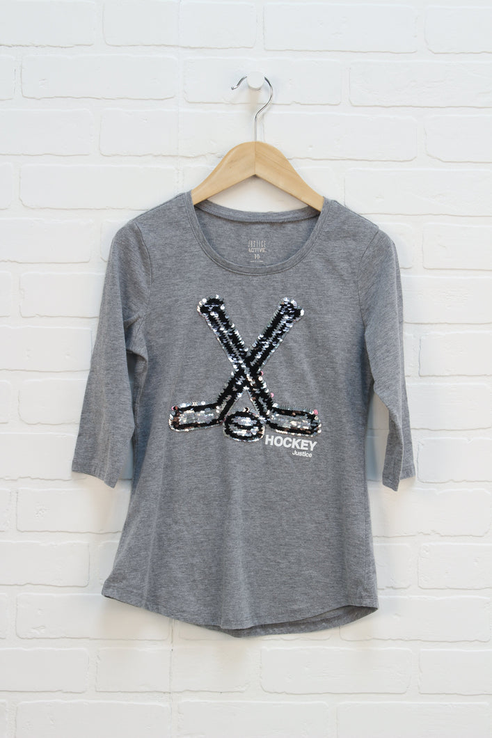 Heathered Grey Flip Sequin Shirt: Hockey (Size 10)