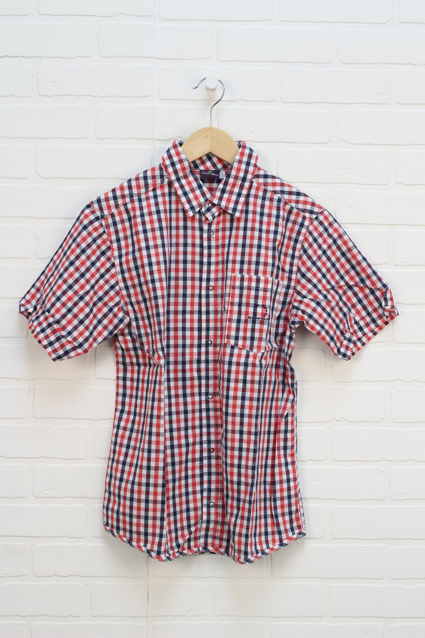 Red + Navy Gingham Top (Size 158/14)