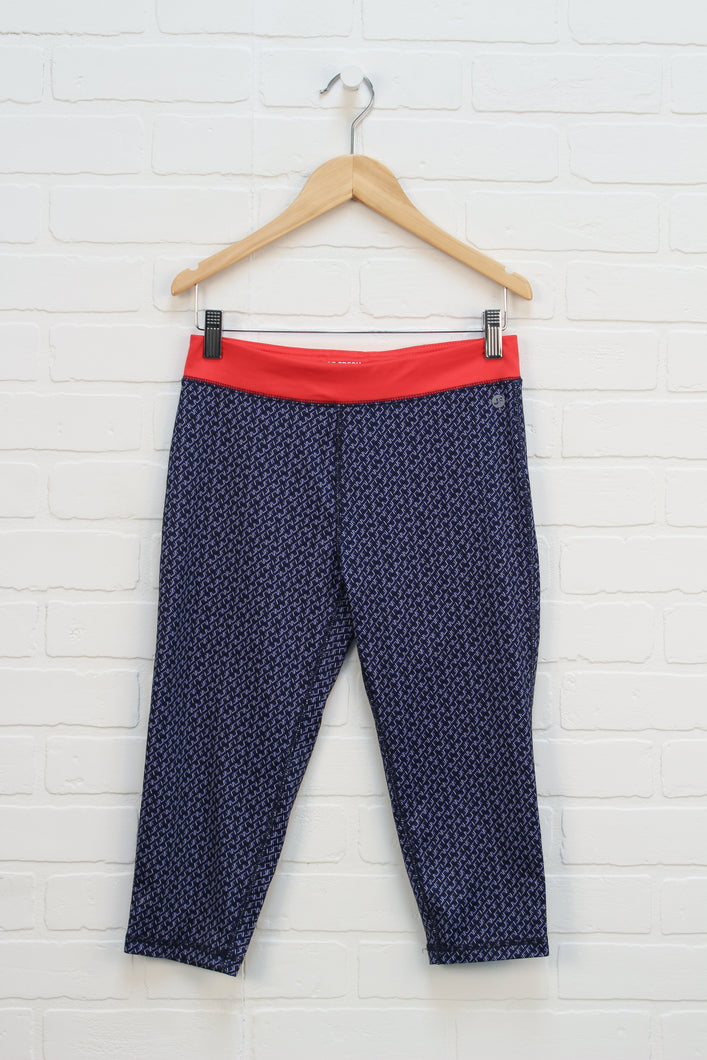Navy + Red Cropped Athletic Pants (Size L/10-12)