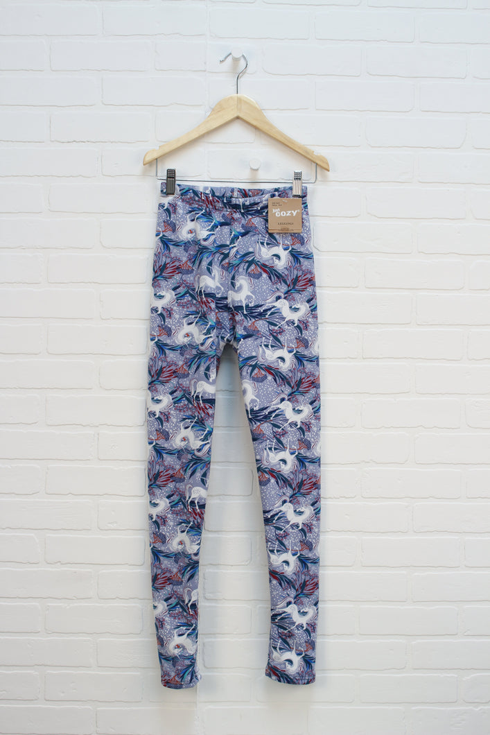 NWT Lavender Minky Lined Graphic Leggings: Unicorns (Women's Size XS)