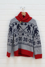Navy + Red Graphic Sweater: Hockey (Size 5)