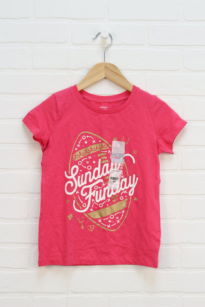 NWT Hot Pink Graphic T-Shirt: Football (Size 7)
