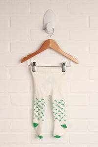 White + Green Tights (Size 6-12M)