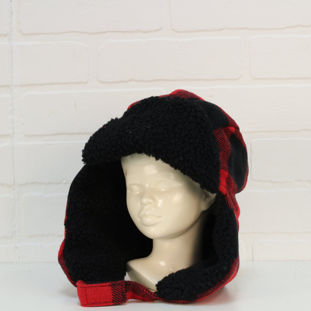 Black + Red Fleece Trapper Hat (Size S-M/6-8)