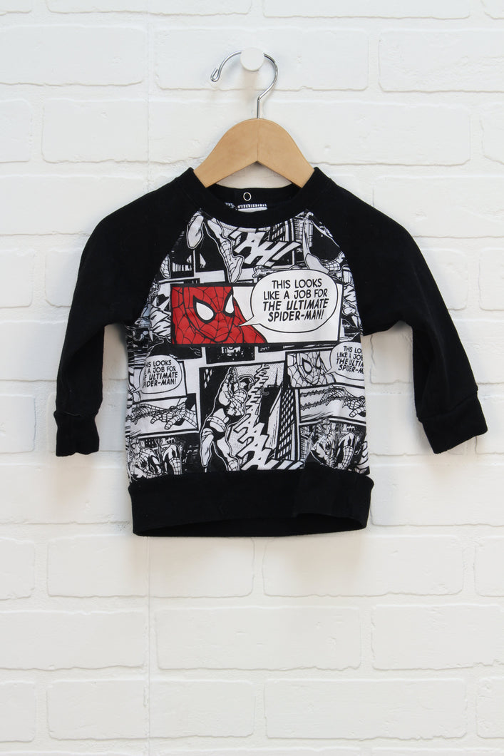 Graphic Raglan Sweatshirt: Spider-man (Size 12-18M) *STAFF PICK*