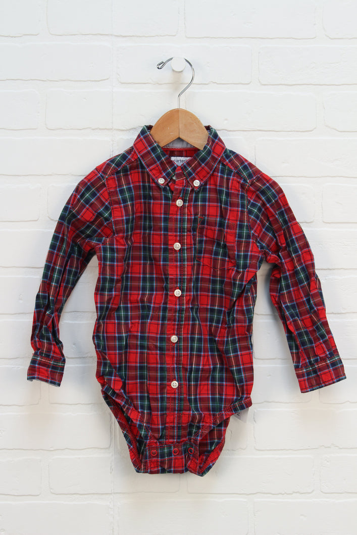 Red Plaid Button Down Onesie (Size 24M)