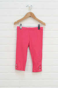 Hot Pink Jewelled Cropped Leggings (Size 4T)