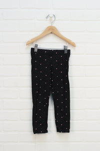 Black + Pink Graphic Leggings: Hearts (Size 3-4)