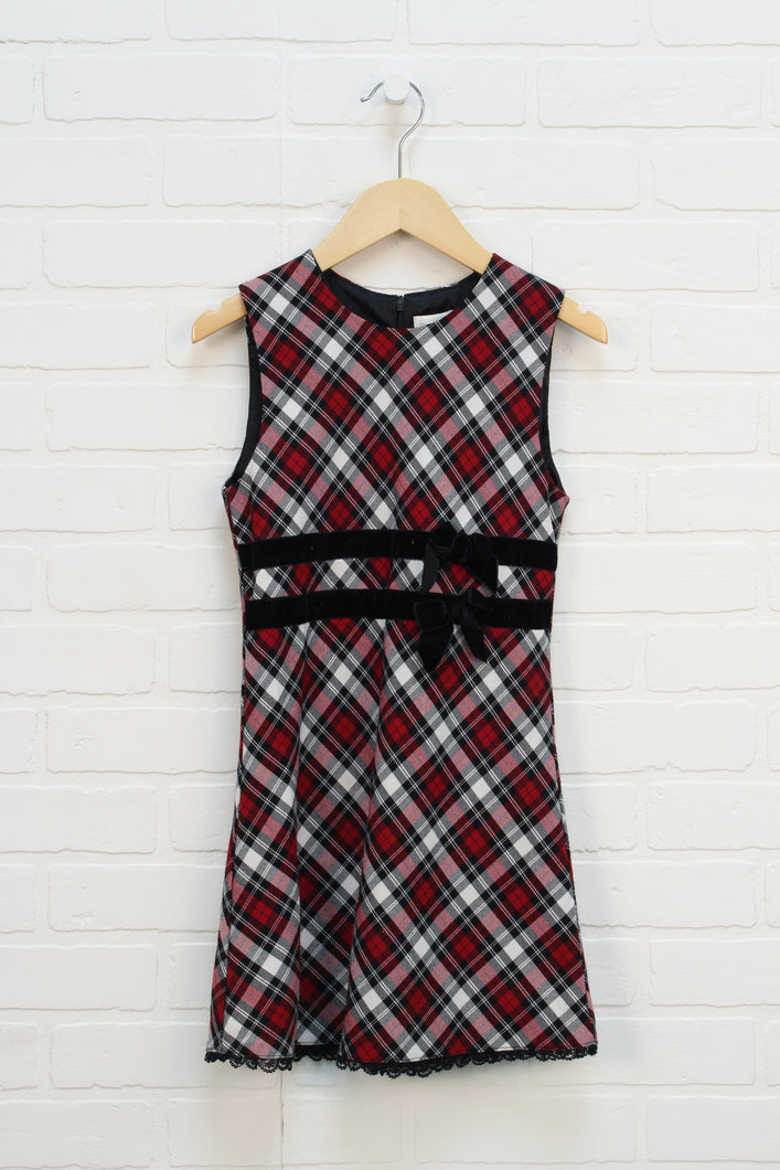 Red + Black Plaid Dress (Size 6X/7)