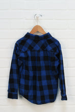 Blue + Black Buffalo Plaid Flannel Top (Size 4)