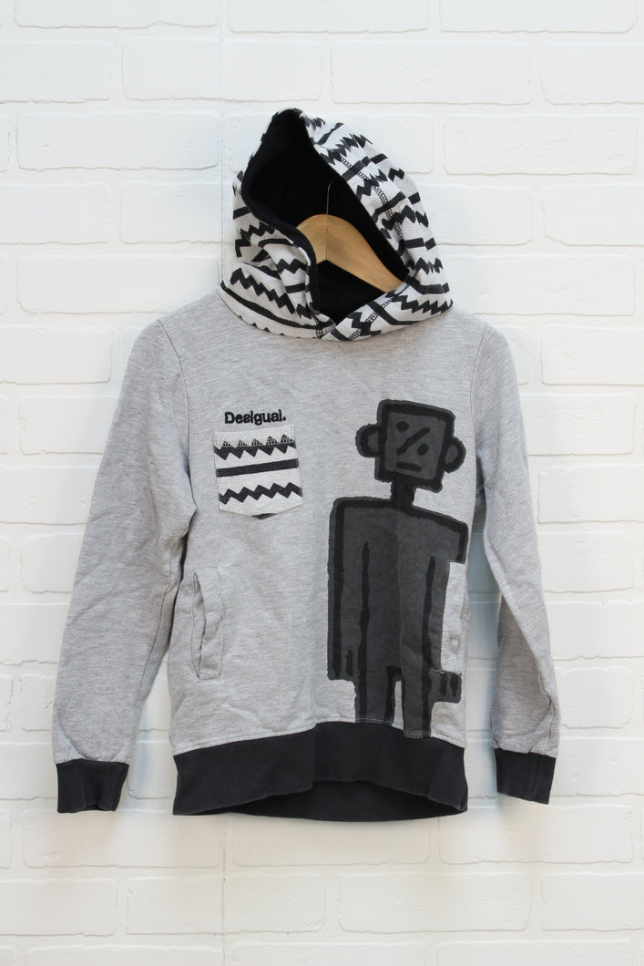 Heathered Grey Graphic Hoodie (Size 7-8)