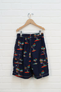 Navy Graphic Swim Trunks: Palm Trees (Estimated Size 6-7)