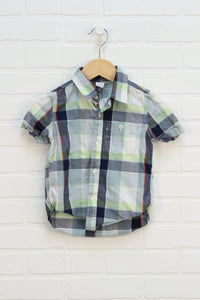 Navy + Lime Plaid Button Up (Size 3)