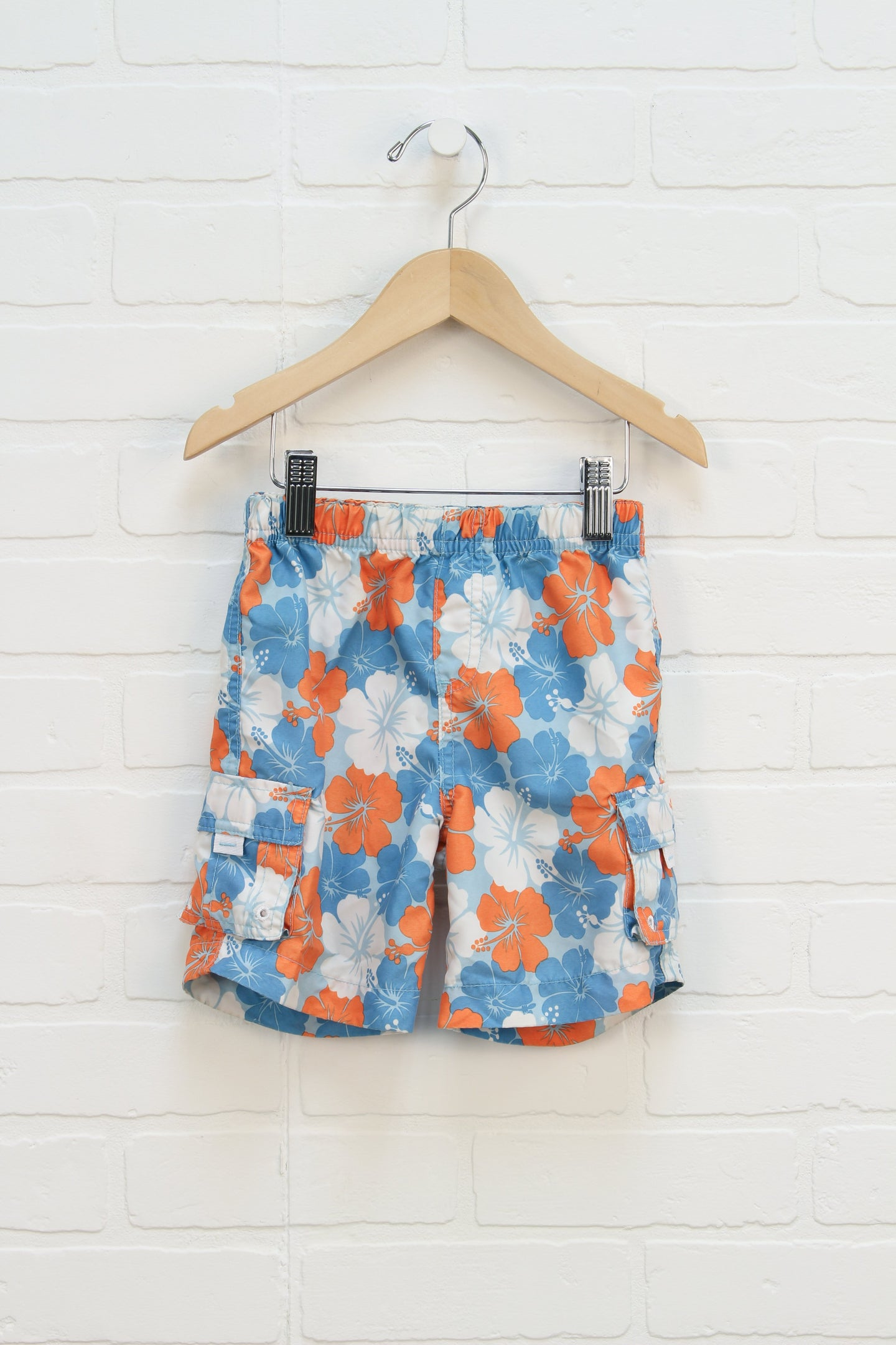 Turquoise + Tangerine Floral Swim Trunks (Size 24M)