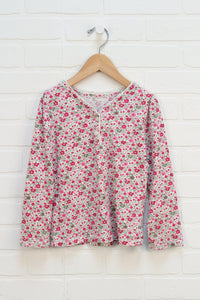 Cream + Hot Pink Floral Top (Size S/5-6)