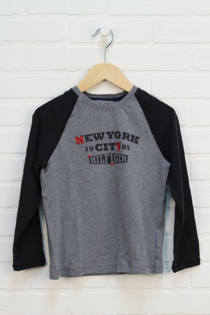 Heathered Grey + Black Raglan (Size 7)