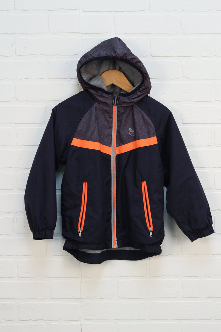 Navy + Orange Fleece Lined Windbreaker (Size 6)