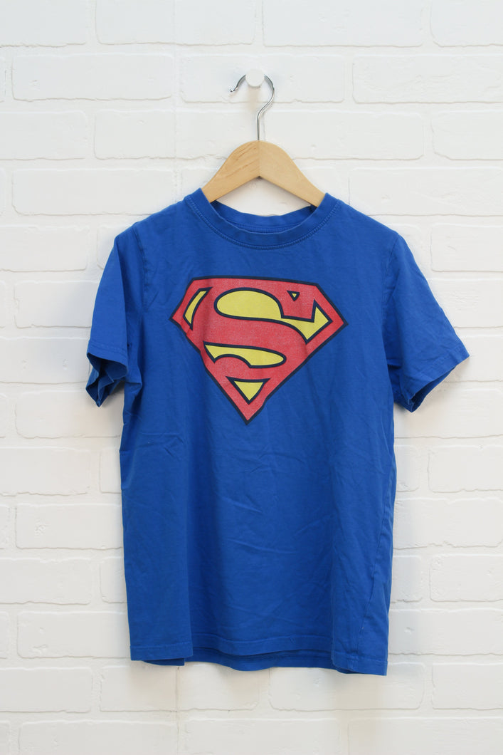 Blue Graphic T-Shirt: Superman (Size M/Estimated 8-10)