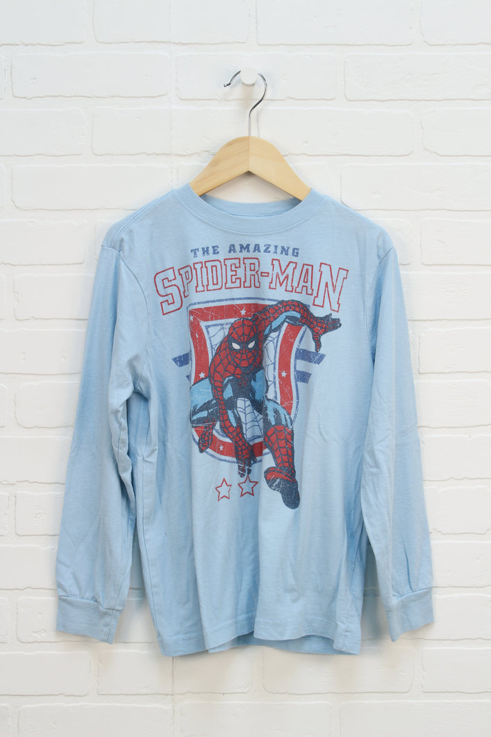 Light Blue Graphic T-Shirt: Spider-Man (Size M/8)
