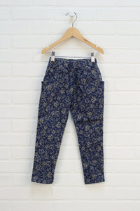 Blue + Beige Floral Jeans (Estimated Size 5-6)