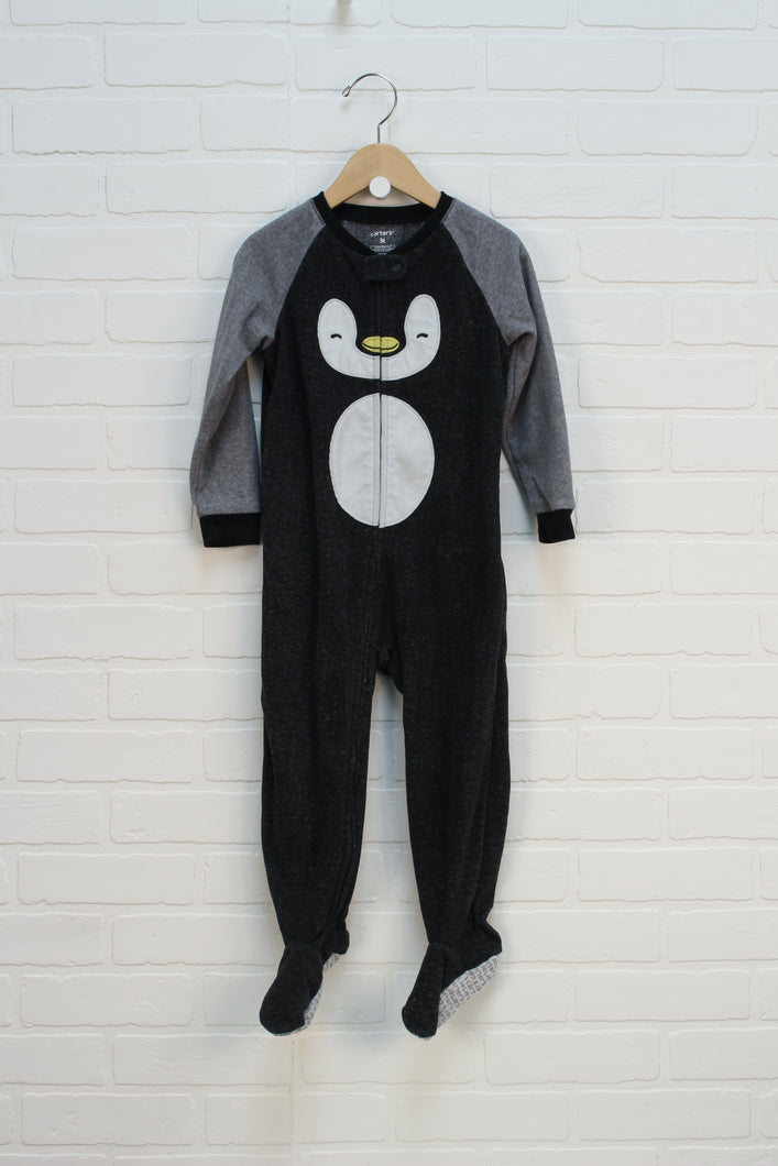 Black + Grey Fleece Sleeper: Penguin (Size 3T)