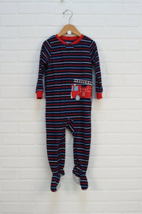 Navy + Red Fleece Sleeper: Firetruck (Size 3T)