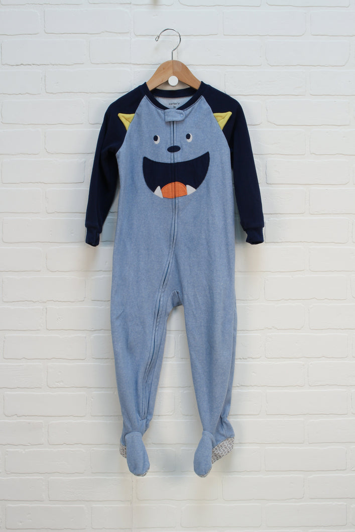 Light Blue Fleece Sleeper: Monster (Size 3T)