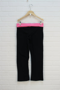 Black + Fluorescent Pink Yoga Pants (Size M/10-12)