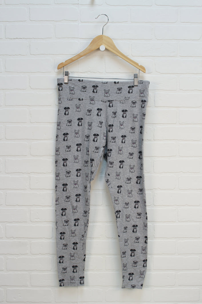 Heathered Grey Graphic Leggings: Dogs (Size 16 Plus)