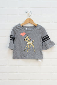 Heathered Grey Graphic Top: Bambi (Size 18-24M)