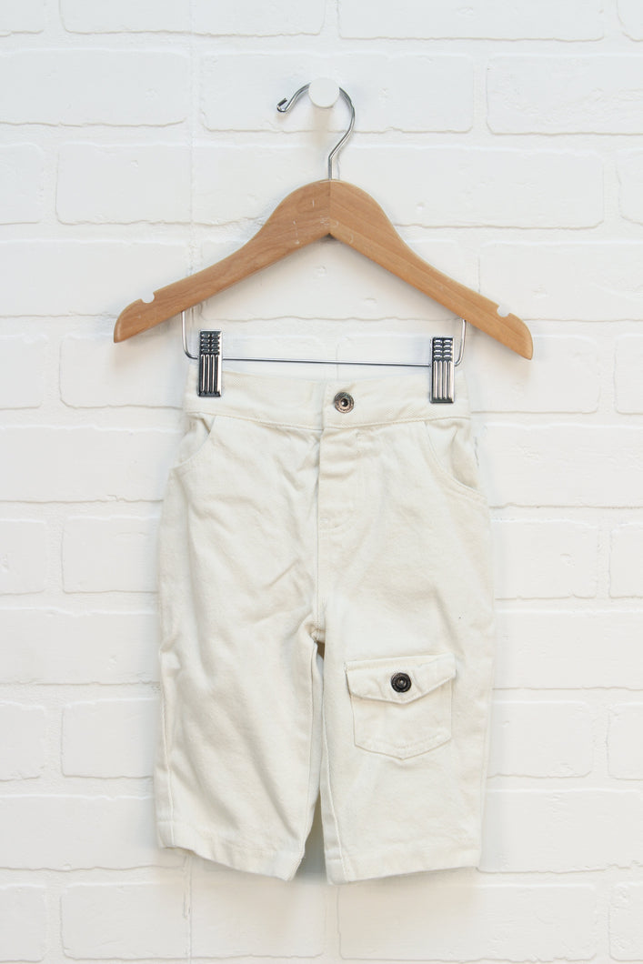 Cream Wide Leg Jeans (Size 3/6M)