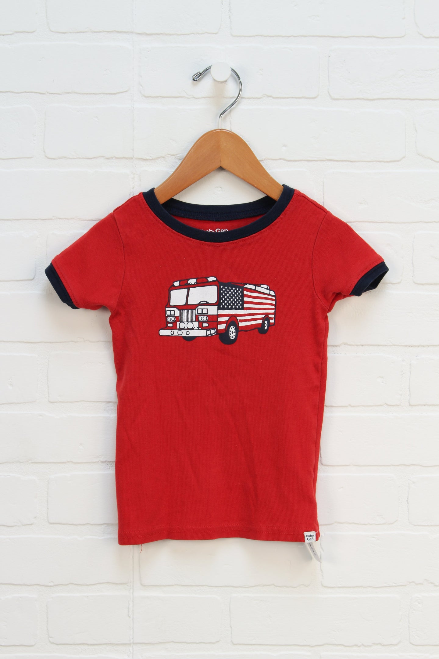 Red + Navy Graphic T-Shirt: Firetruck (Size 3)