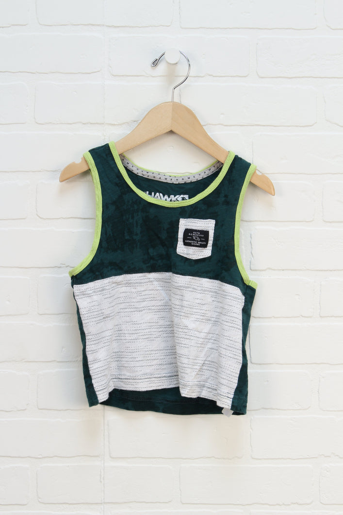Forest + White Slubbed Tank (Size XS/4-5)