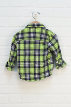 Chartreuse + Navy Plaid Flannel Button Up (Size 18M)