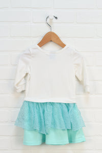 White + Turquoise Dress: Frozen (Size 2T)