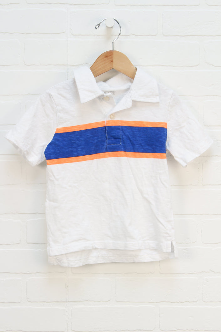 White + Blue Slubbed Polo (Size 5T)