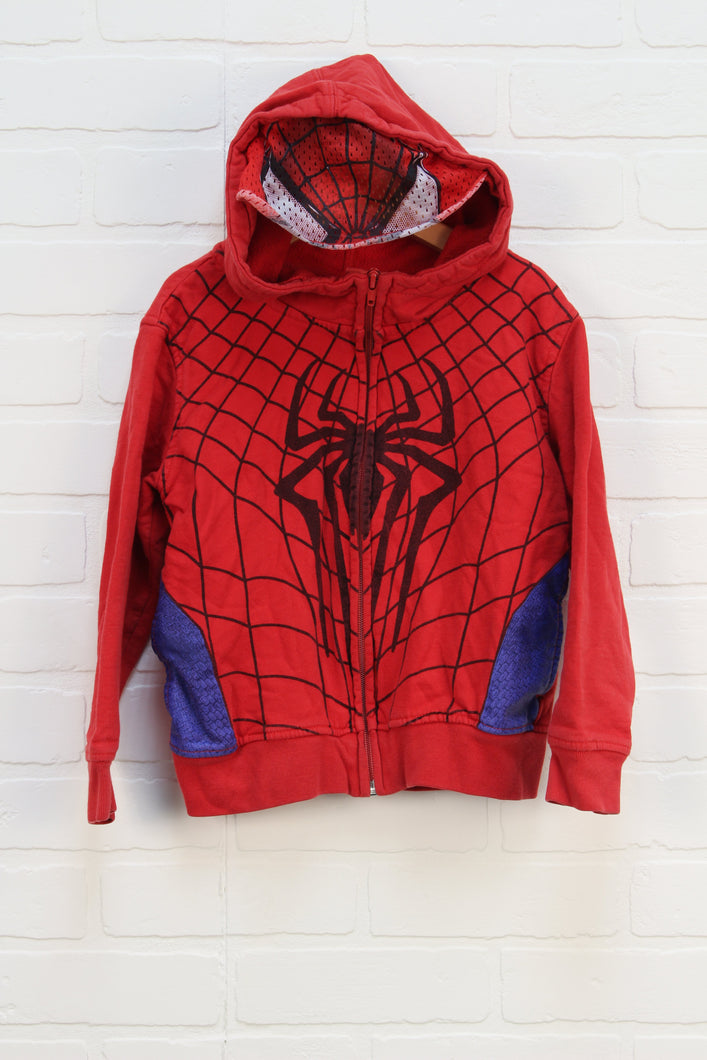 Red + Blue Graphic Hoodie: Spider-man (Size XS/Estimated Size 5)